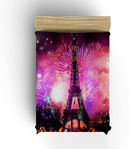 Tower Pattern Fireworks Background for New Year Flannel Fleece Lively Blanket Thick Cozy Solid Blankets -Multi-color