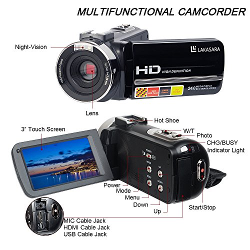 Camera Camcorders, LAKASARA Full HD 1080P 24MP IR Night Vision Video Camera Recorder with 16X Digital Zoom 3 Inch LCD Touchscreen and External Microphone Video Camcorder