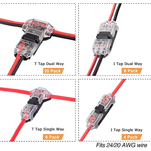 Wire Connectors - Low Voltage Electric Wire Connectors Terminals 40 Pack,No Stripping Quick Splice Wiring Connectors for Set by Brightfour