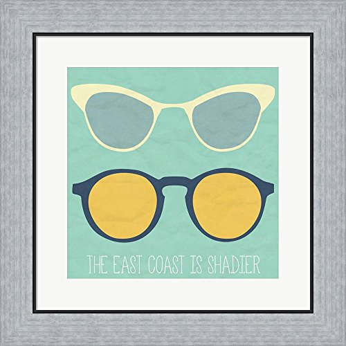 East Coast I by SD Graphics Studio Framed Art Print Wall Picture, Flat Silver Frame, 19 x 19 inches