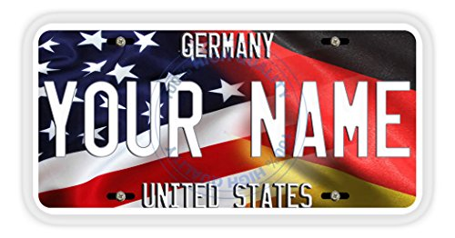 BleuReign(TM) Personalized Mixed USA and Germany Flag Car Vehicle License Plate Auto Tag