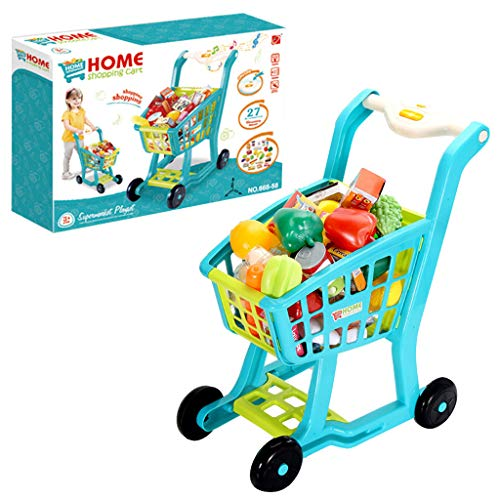 Children's Groceries Shopping Cart Toy, Educational Toy with Fruits and Vegetales Pretend Play and Learn Shopping Cart Playset for Toddlers Age 3 Years and Up (Blue)