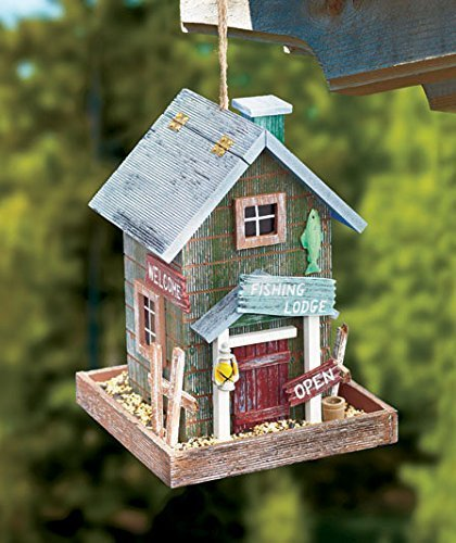 Fishing Lodge Themed Country Cabin House Wooden Wild Bird Feeder Tree Hanging Yard ()