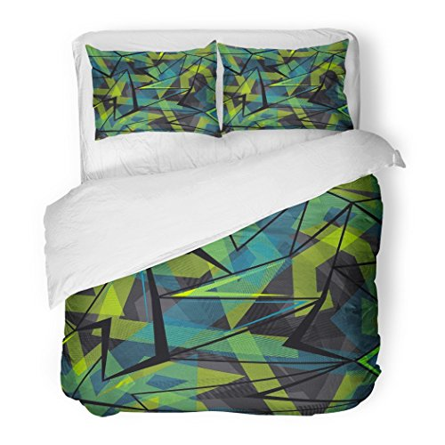 SanChic Duvet Cover Set Abstract Geometric Urban Repeated for Boys Lines Triangles Arrows in Bright Blue Green Black Decorative Bedding Set with 2 Pillow Shams Full/Queen Size -
