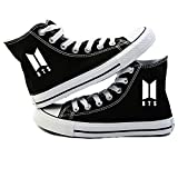 Hosston Kpop BTS Sneakers Canvas Shoes Black Fashion Bangtan Boys Hiphop Style Canvas Shoes Men and Women Size Fan Support for Army(7.5 M US BTS 02)