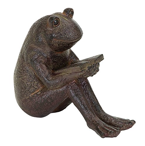 Frog Garden Sign (Benzara Quite Reading Garden Frog Statue, Polystone)