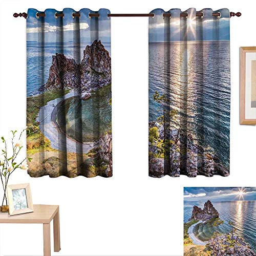 Andytours Decorative Curtains For Living Room Travel Shaman Rock Lake Baikal In Russia Coastal Theme Sun Rays Scenic Vista Print Green Brown