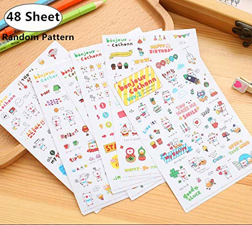48 Sheet Cute Cartoon Planner Stickers Value Pack, Magnolora Decorative Diary Book Sticker Scrapbook Planner Collection for Scrapbooking, Calendars, Arts, Kids DIY Crafts, Album, Bullet Journals