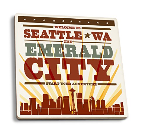 - Lantern Press Seattle, Washington - Skyline and Sunburst Screenprint Style (Set of 4 Ceramic Coasters - Cork-Backed, Absorbent)