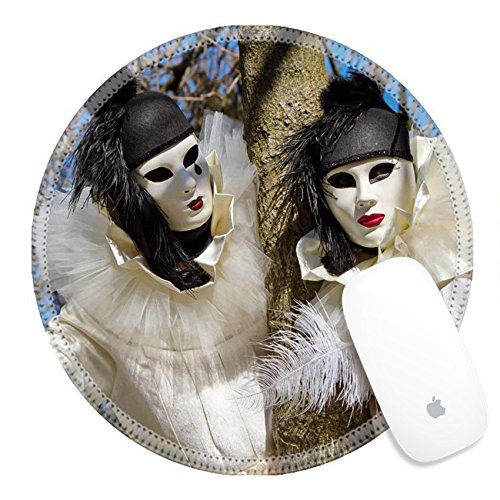 Luxlady Round Gaming Mousepad 26981573 Black and white Pierrot couple at the 2014 Annecy venetian carnival France (White Pierrot Costume)