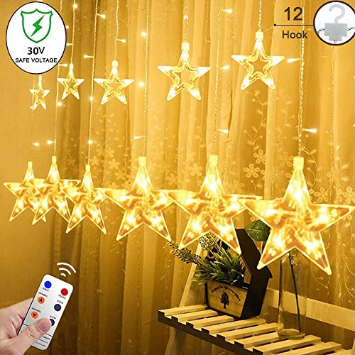 YINUO LIGHT 12 Stars Curtain String Lights with Remote and Hanging Hook, 138 LED Decoration Lights for Indoor/Outdoor, 8 Flashing Modes Fairy Lights for Bedroom, Christmas Tree, Holiday, Warm White (Wall Outdoor Decorations Hanging)