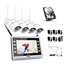 ANNKE 4CH Wireless Security NVR System with 11 Monitor and 4 Pcs Night Vision Bullet IP Cameras, HDMI Up to 1080P, One 1TB HDD Included