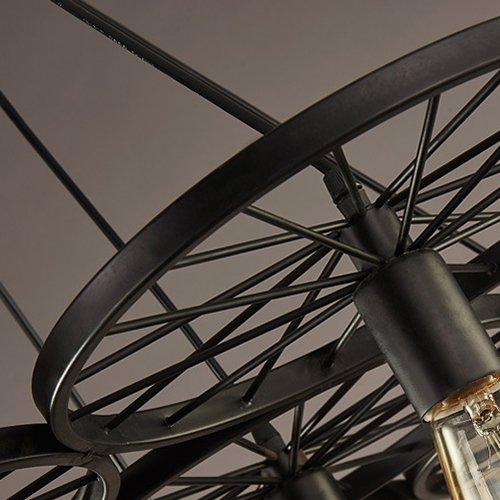 Ruanpu Adjustable Industrial 37.8'' 3 Lights Multi Pendant Light with Wheel in Black Vintage Ceiling Light Retro Chandelier