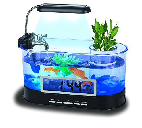 QTMY Mini Desktop Aquariums Fish Tank with LED Light Pen Holder Alarm Clock Office Decoration by QTMY
