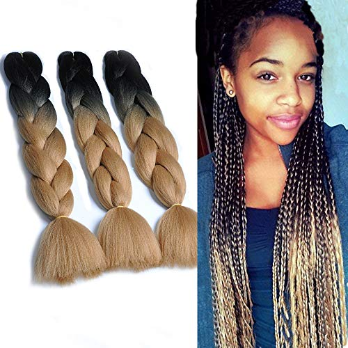 - NATURAL BEAUTY Synthetic Braiding Hair Bundles Kanekalon Hair Ombre Twist Braiding Hair Fiber Jumbo Hair Extensions for Women (3 Bundles, Black-Light Brown)