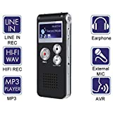 Digital Voice Activated Recorder - Akaluli 8GB Voice Recorder for Lectures Meetings Rechargeable Portable Recording Device with Built-in Speaker
