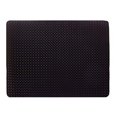 Resilia - Grill and Garage Protective Mat - Decorative Embossed Diamond Plate Pattern - Black, (3 Feet x 4 Feet) - Floor Standing Smoker