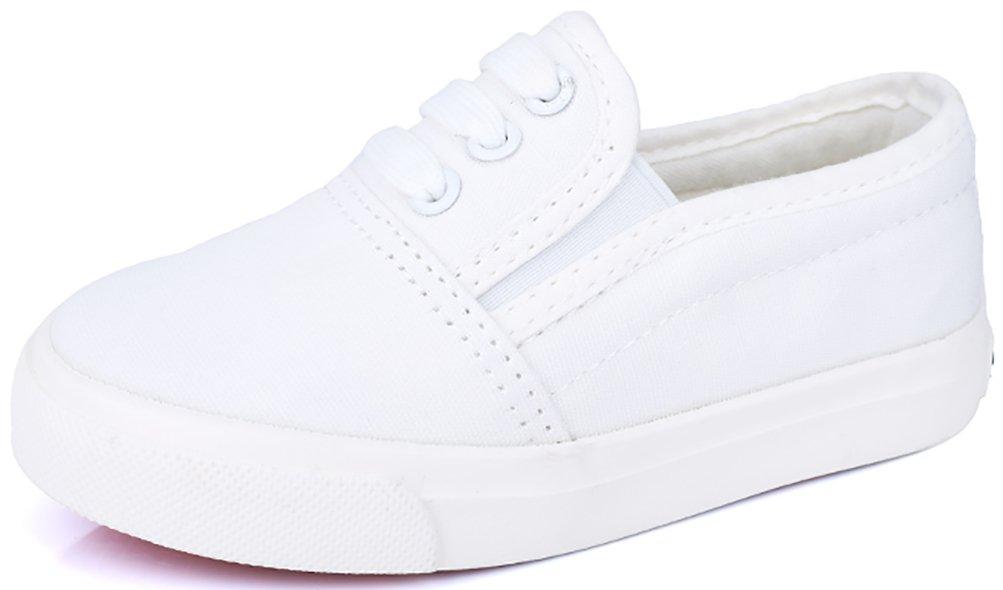 VECJUNIA Boy's Girl's Slip-On Cozy Basic Fashion Slip-Resistant Canvas Shoes (White, 13.5 M US Little Kid) by VECJUNIA (Image #1)