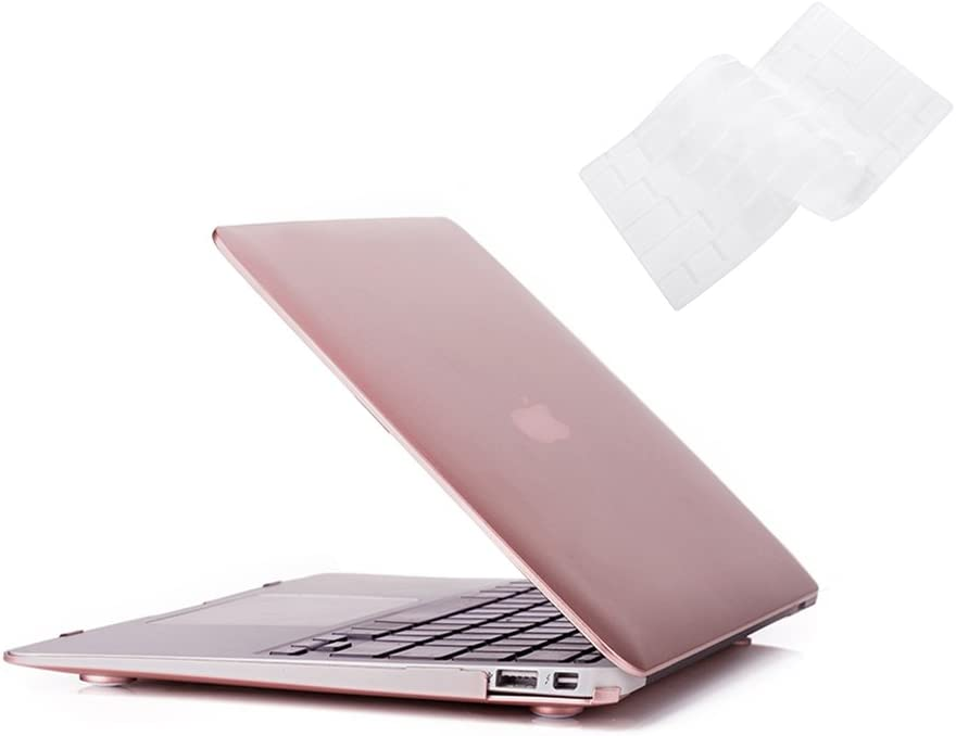 RUBAN Case Compatible with MacBook Air 13 Inch (Models: A1369 & A1466, Older Version 2010-2017 Release), Slim Snap On Hard Shell Protective Cover and Keyboard Cover, Rose Gold