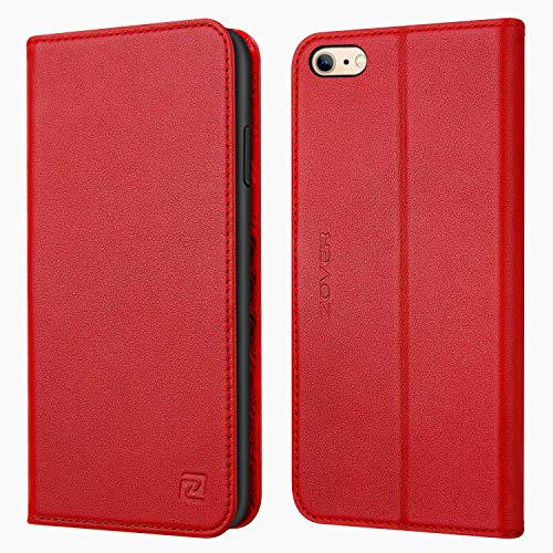 - Zover iPhone 6S Case iPhone 6 case Genuine Leather Case Flip Folio Book Case Wallet Cover Kickstand Feature Card Slots & ID Holder Magnetic Closure iPhone 6 iPhone 6S Red