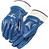 Galeton 5923 Blue Steel Nitrile Coated Gloves, Smooth Finish, Safety Cuff