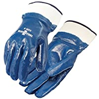 Galeton Blue Steel Nitrile Coated Gloves Smooth Finish Safety Cuff 12 Pack 5923