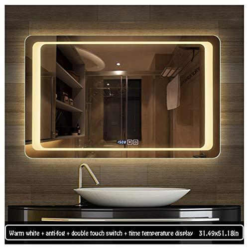 80130cm Illuminated LED Backlit Bathroom Mirror Light Sensor Touch Control with Demister - Bathroom Shaver Socket Backlit With Mirrors