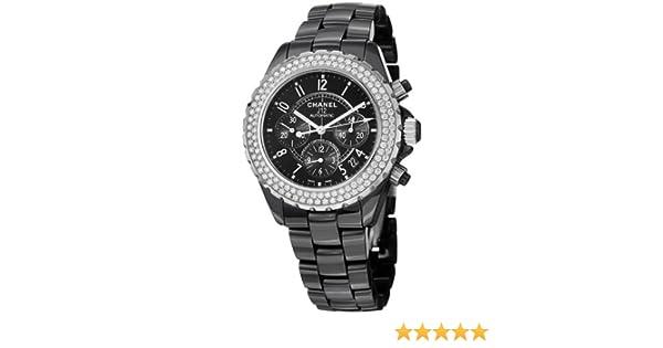 5c5a8cff9d76 Amazon.com  Chanel J12 Black Ceramic Automatic Chronograph Diamond Watch  H1009  Chanel  Watches