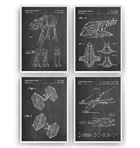 Star Wars Patent Prints Art - Set Of 4 - Fan Gift Poster Vintage Original Blueprint Retro Wall Decor - Frame Not Included
