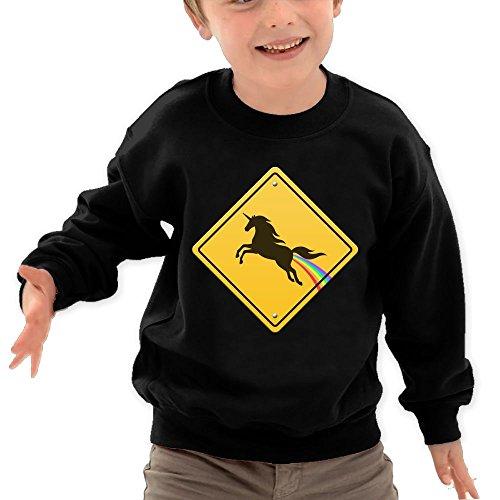 Puppylol Cool Unicorn Kids Classic Crew-neck Pullover Sweatshirt Black 3 Toddler