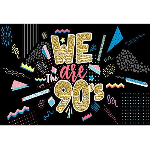 Yeele 6x4ft Vinyl Photo Background Back to The 90#039 Party Backdrop for Photography Trend Fashion Rock Party Decoration Children Teenagers Photo Booth Shoot Vinyl Studio Props