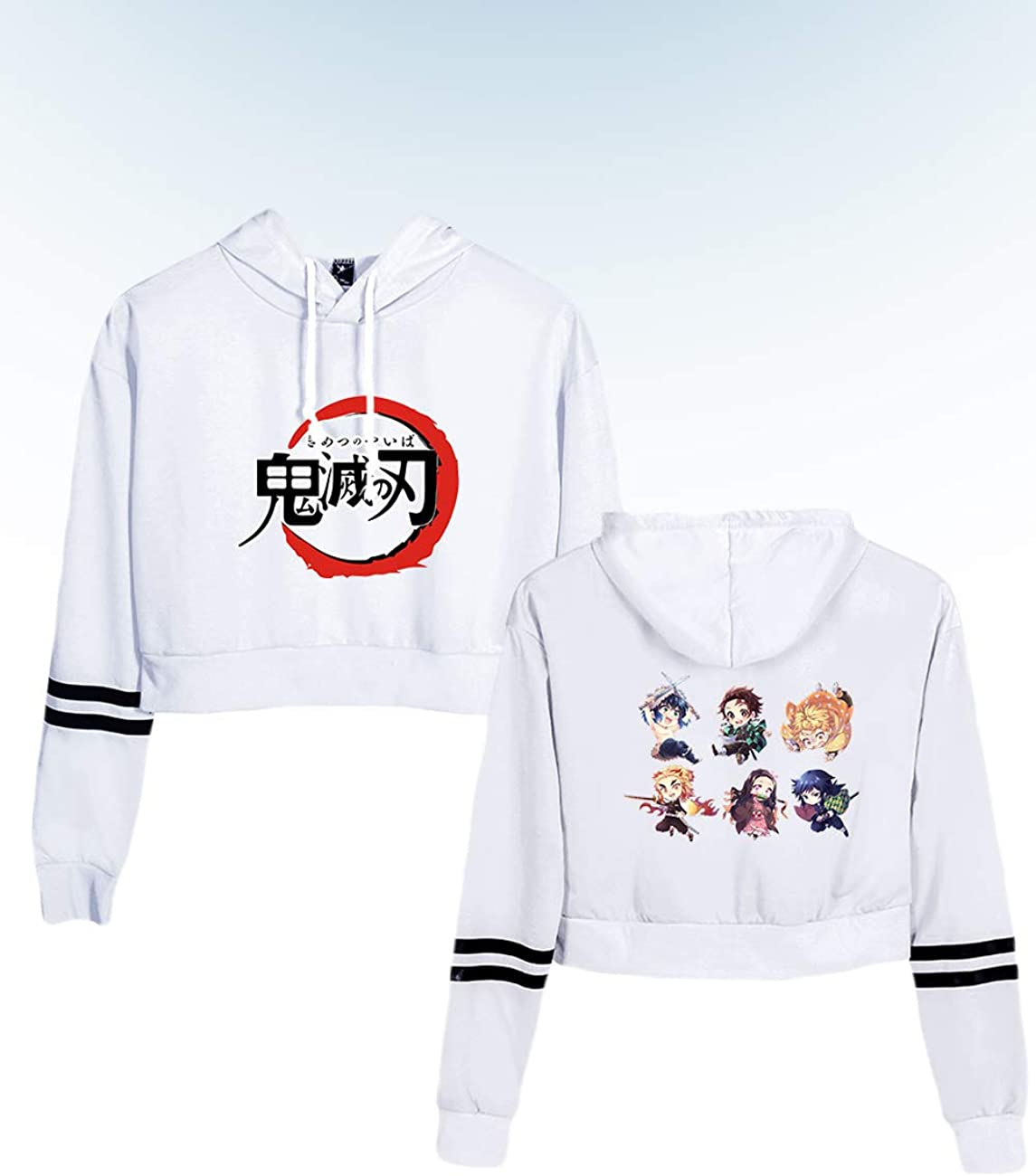 Womens Demon Slayer Cute Crop Top Hoodie Sweatshirt Sweater with Tanjirou Nezuko Inosuke Zenitsu Giyuu Graphic