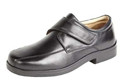 15573e0bd6c Roamers Mens Soft Leather XXX Extra Very Wide Fit Lightweight Strap Shoes  Black Size 7
