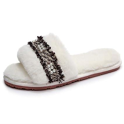 Zapatillas de casa para mujer Zapatillas con estilo de la decoración de la perla de la
