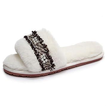 Zapatillas de casa para mujer Zapatillas con estilo de la decoración de la perla de la ...