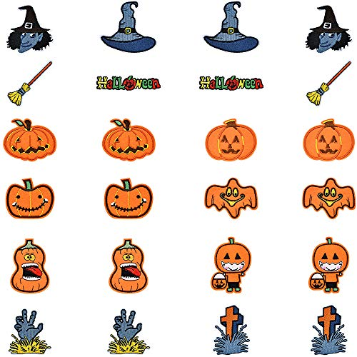 Cute Halloween Diy Crafts (PGMJ 24 Pieces Halloween Pumpkin Skeleton Ghost Wizard Hat Broom Iron On Patch, Cute Gold Pumpkin Halloween Assemble Patch for Arts Crafts DIY Decor, Jeans, Jackets, Kid's Clothing,)