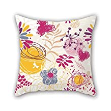 Flower Throw Cushion Covers 16 X 16 Inches / 40 By 40 Cm Gift Or Decor For Bench Home Theater Festival Gril Friend Lounge - Twin Sides
