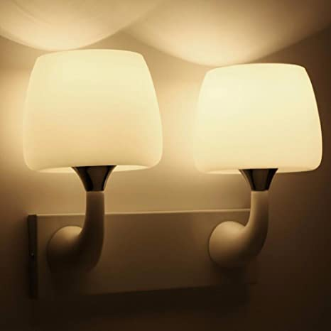 Wall Lights White Paint Mushroom Lamp Frosted Glass Cover Bedroom ...