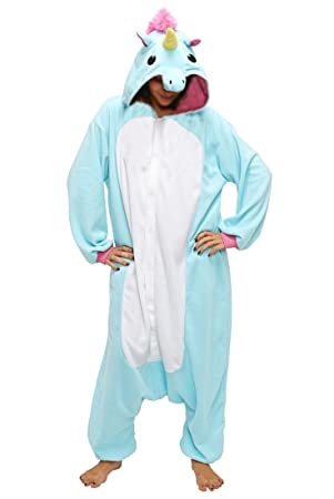 Anebalrui Damen Herren Jumpsuit Overall Fasching Tier Einhorn Kostüm
