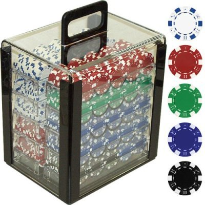 Trademark Poker 1000 Dice Striped Chips in Acrylic Carrier, 11.5gm, Clear by Trademark Poker