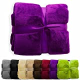 casa pura Fleece Throw Blanket | Plush Blanket Throw for Couch or Queen Size Bed | Super Soft & Cozy Fur Blankets | Various Sizes and Colors | Deep Purple - 86' x 94'