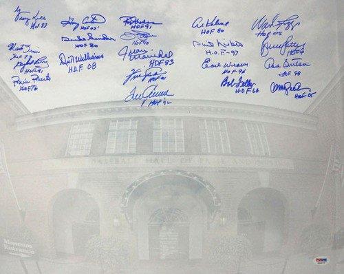 MLB Hall of Famers Signed 16 x 20 Photograph With 20 Signatures Including Tom Seaver, Rod Carew, Wade Boggs, Ryne Sandberg & Al Kaline HOF - Certified Genuine Autograph By PSA/DNA - Autographed Photo - Tom Seaver Photograph