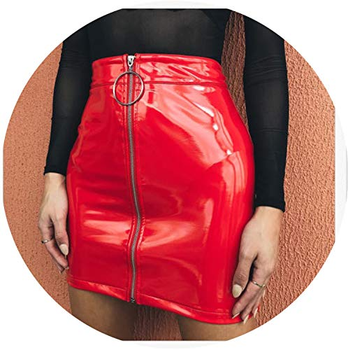 Sexy Women Fashion High Waist Zip Faux Leather Short Pencil Bodycon Mini Skirt Solid White Skirt,Red,S (Zara Faux Leather Pencil Skirt)
