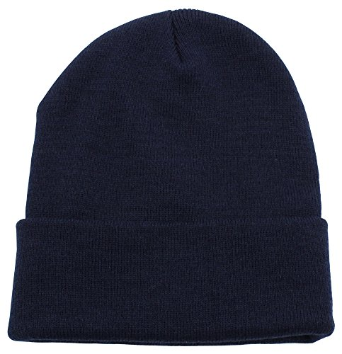 Cuffed Plain Skull Beanie Hat/Cap | Winter Unisex Knit Hat Toboggan For Men & Women | Unique & Timeless Clothing Accessories By Top Level, Navy, One Size