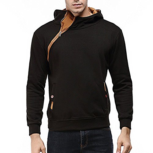 AMSKY Mens' Pullover Hoodies, Fashion Long Sleeve Zipper Side Hipster Color Block Cozy Cotton Hooded Sweatshirts Coat with Pocket (3XL, Black) by AMSKY