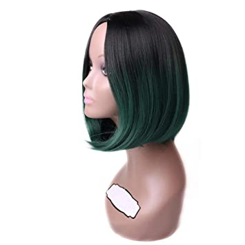 Ombre Blue Color Short Straight Hair Synthetic Bob Wig For Black Women Cosplay Hair Wig Grey
