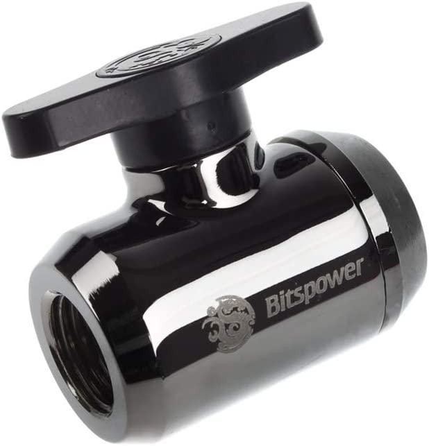 "Bitspower G1/4"" Mini Valve with Black Handle, Black Sparkle Body"