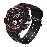 Delight eShop Fashion Men Digital Sports Military Date Waterproof Analog Quartz Wrist Watch (Black&Red)