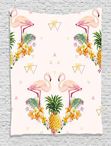 Ambesonne Flamingo Decor Collection, Geometric Pineapple Flamingo Tropical Summer Party Theme Artistic Design, Bedroom Living Room Dorm Wall Hanging Tapestry, Crimson Green Mustard White (Design Tropical Room Living)