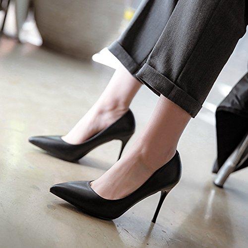 cerimoniale fine da nero di satinata con pelle morbida lavoro tacco con singola cm a di superiore pelle calzatura scarpe alto professionale Punta nera 7 scarpe bassa 38 dTxzPwqd